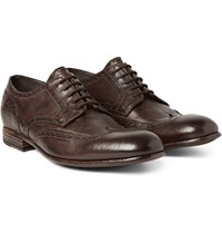 Alexander Mcqueen Washed Leather Wingtip Brogues Chocolate
