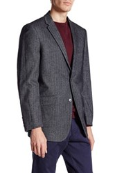 U.S. Polo Assn. Grey Blue Herringbone Two Button Notch Lapel Modern Fit Suit Separates Sports Coat Gray