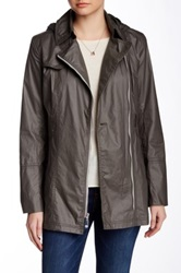 Vince Camuto Asymmetrical Zip Front Trench Gray