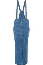 Balmain Convertible Stretch Denim Maxi Dress Blue