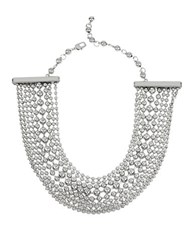 Kenneth Cole Metal Spheres Bead Shot Multi Row Chain Necklace Silver