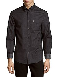 Ben Sherman Brushed Long Sleeve Cotton Shirt True Black