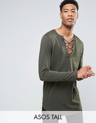Asos Tall Longline Long Sleeve T Shirt With Lace Up Neck Forest Nights Green