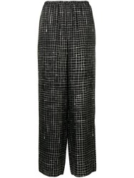 Theory Grid Check Palazzo Trousers Black