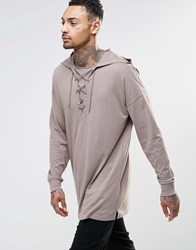 Asos Oversized Longline Long Sleeve T Shirt With Lace Up Hood Beige