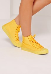 Missguided High Top Lace Up Toe Cap Trainers Yellow Yellow