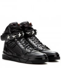 Givenchy Tyson Stars Leather High Top Sneakers Black