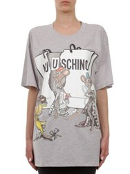 Moschino Capsule Oversize Cotton Jersey Graphic Tee Grey