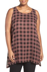 Eileen Fisher Plus Size Women's Scoop Neck Buffalo Check Silk Top Mahogany