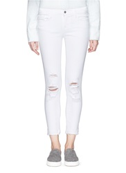 J Brand 'Cropped' Ripped Jeans White