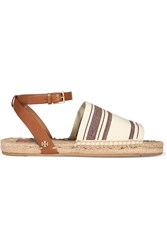 Tory Burch Striped Canvas And Leather Espadrilles Red