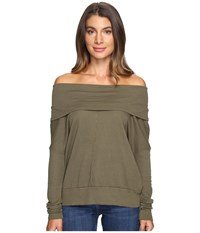 Lamade Rembrandt Off The Shoulder Boxy Top Olive Night Women's Long Sleeve Pullover Green
