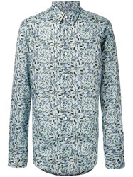Fendi Floral Printed Shirt Blue