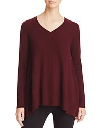 Bloomingdale's C By Arched Hem Cashmere Sweater Marled Cabernet