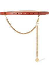 Givenchy Chain Trimmed Textured Leather Waist Belt Brick Gbp