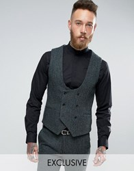 Noose And Monkey Super Skinny Harris Tweed Waistcoat Green