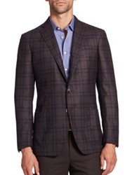 Saks Fifth Avenue Windowpane Check Wool Blazer Brown Navy