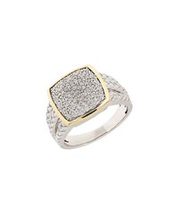 Lord And Taylor Diamond Sterling Silver 14K Yellow Gold Ring
