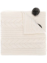 N.Peal Pom Pom Cable Knit Scarf White