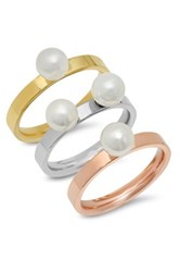 Tri Color 6Mm Simulated Pearl Ring Set Of 3 Metallic