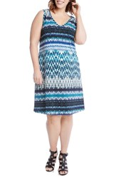 Karen Kane Plus Size Women's Brigitte Batik Stripe Tank Dress Print