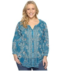 Lucky Brand Plus Size Long Sleeve Blouse Turquoise Multi Women's Blouse