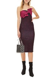 Topshop Bow Twist Midi Dress Pink Multi