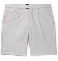 Hugo Boss Slice Slim Fit Cotton Blend Jacquard Shorts Light Gray