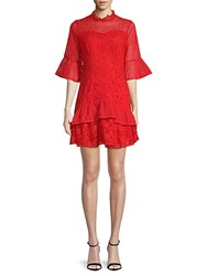 Lea And Viola Bell Sleeve Lace Dress Red