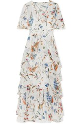 Maje Shirred Floral Print Georgette Midi Dress White