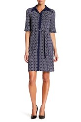 Laundry By Shelli Segal Printed Button Down Dress Blue