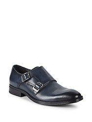 Karl Lagerfeld Double Monk Strap Leather Loafers Navy