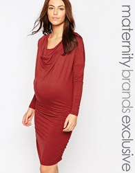 Mama Licious Mamalicious Nursing Cowl Neck Ruched Bodycon Dress Red