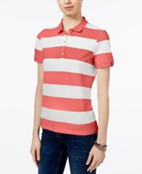 Tommy Hilfiger Striped Polo Top Only At Macy's Flamingo Ivory