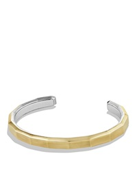 David Yurman Faceted Metal Cuff Bracelet With 18K Gold Silver Gold