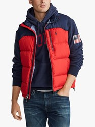 Ralph Lauren Polo Packable Down Gilet Red Cruise Navy