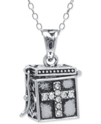 Macy's Crystal Pave Prayer Box Pendant Necklace In Sterling Silver
