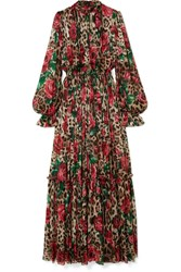 Dolce And Gabbana Pleated Printed Silk Chiffon Gown Black