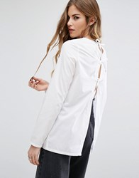 Noisy May Lace Back Detail Shirt Bright White