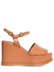 See By Chloe 110Mm Carrie Leather Wedges Tan