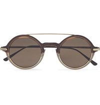 Bottega Veneta Round Frame Acetate And Gold Tone Sunglasses Brown