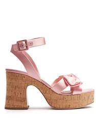 Miu Miu Bow Detail Satin Platform Sandals Pink