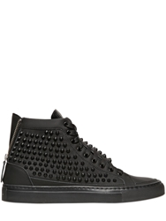 Giacomorelli Studded Matte Leather High Top Sneakers Black