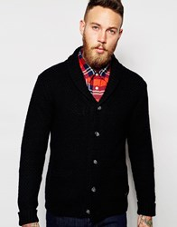 Lee Knit Shawl Cardigan Chunky Textured 2 Pocket Black