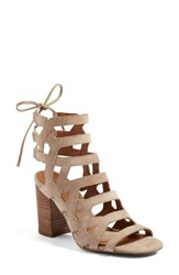 Sarto By Franco Sarto Women's Connie Block Heel Cage Sandal Summer Beige Brushed Suede