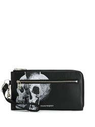 Alexander Mcqueen Torn Skull Print Zip Around Wallet Black