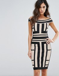 Wow Couture Off Shoulder Bandage Dress In Contrast Paneled Grid Multi