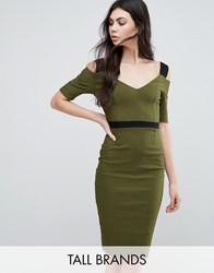 Vesper Tall Pencil Dress With Cold Shoulders Khaki Black Green