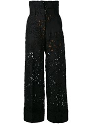 Petar Petrov Lace Embroidered Trousers Black