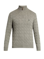 Polo Ralph Lauren High Neck Cable Knit Cotton Sweater Grey